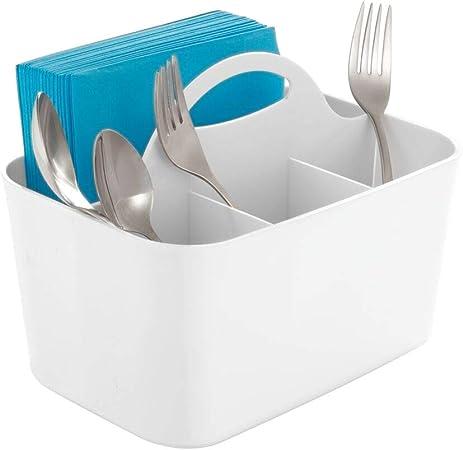 mDesign Portacubiertos – Escurridor de cubiertos con asa integrada para transporte – Práctico como organizador de cocina – Color: Blanco: Amazon.es: Hogar