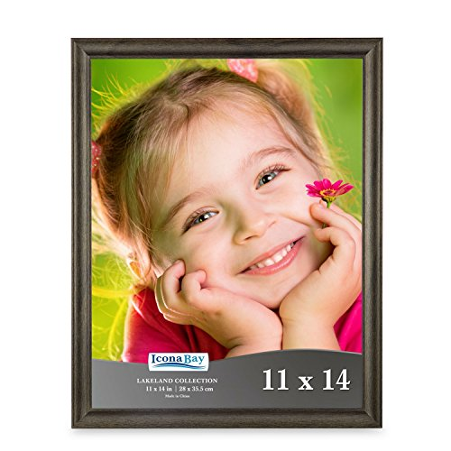 Icona Bay 11 by 14 Picture Frames (11x14, Hickory Brown Wood Finish) Wood Photo Frame, Wall Hanging Large Photo Document Certificate Frame, Landscape as 14x11 or Portrait, Lakeland Collection (Picture Portrait)