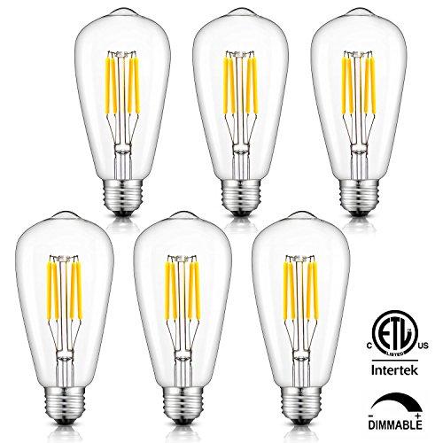 - CRLight 4W Dimmable LED Filament Bulb 40W Equivalent Daylight (Neutral White) 4000K Glow, E26 Medium Base ST64 Vintage Edison Light Bulbs, 360 Degrees Beam Angle, Pack of 6
