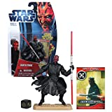 Hasbro Year 2012 Star Wars Movie Heroes Galactic Battle Game Series 4 Inch Tall Action Figure - MH05 DARTH MAUL with Red Double-Bladed Lightsaber, Slashing Action Feature, Battle Game Card, Die and Figure Display Base