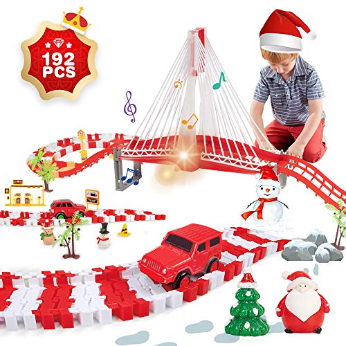 Lucky DougChristmas Race Car Track Toys, 2 Cars and 1 Bridge with Lights Sounds,192 PCSChristmas Birthdays Toys for Kids, Toddler Age 3+