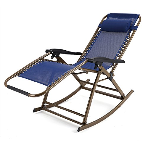 Anfan Folding Rocking Chair Zero Gravity Rocker Reclining Chair with Adjustable Pillow for Patio Garden Lawn Home (US STOCK) (Blue)