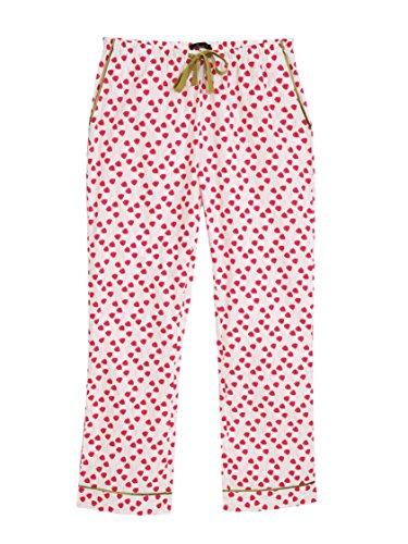 Women's 100% Cotton Poplin Lounge Pants - Poppies Red White - ()