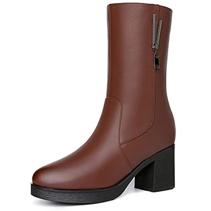 3e5164cfa907e Amazon.com: Women's Thick Heel Boots, Middle Boots Autumn Winter New ...