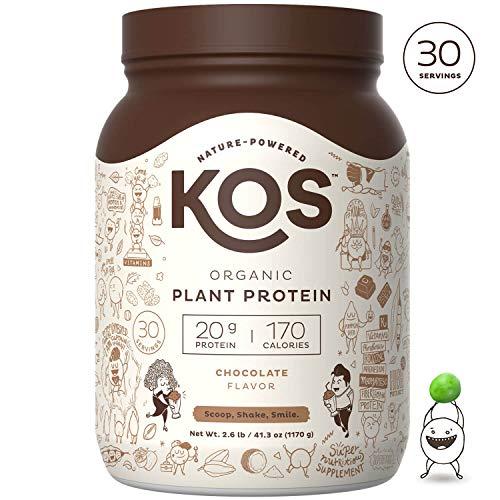 KOS Organic Plant Based Protein Powder - Raw Organic Vegan Protein Blend, 2.6 Pound, 30 Servings (Chocolate)