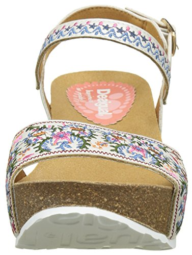 Desigual White Flowers, Heels Sandals para Mujer Blanco (white 1000)