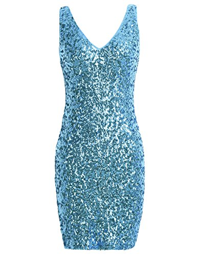 (PrettyGuide Women Sexy Deep V Neck Sequin Glitter Bodycon Stretchy Mini Party Dress Lake Blue)