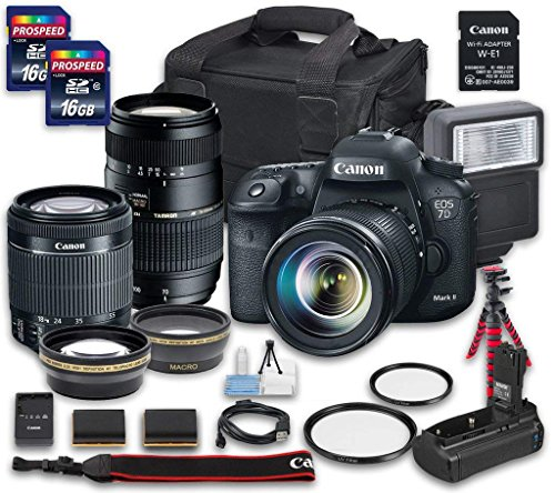 Canon EOS 7D Mark II DSLR Camera Bundle with W-E1 Wi-Fi Adapter, EF-S 18-55mm f/3.5-5.6 IS STM Lens, Tamron Zoom Telephoto AF 70-300mm f/4-5.6 Macro Autofocus, 2 PC 16 GB Memory Card, Camera Case For Sale