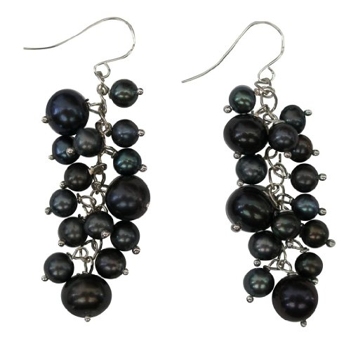 Dainty Black Cluster Rice Cultured Pearl Sterling Silver Drop ()