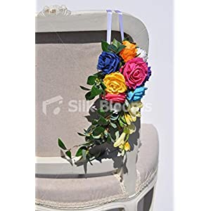 Colourful Up-Themed Multi-Coloured Rose and Freesia Wedding Pew End