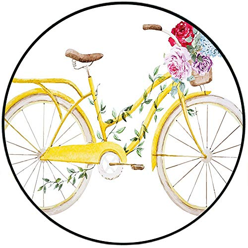 Short Plush Round Carpet Vintage Watercolor Style Effect Bicycle with Leaves and Flowers in The Basket Pattern White and Yellow Living Room Computer Chair 19.7