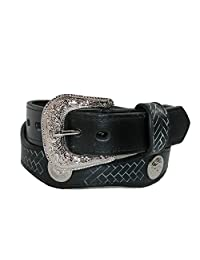 Rogers-Whitley Girls' Scallop Cut Western Belt with Conchos, Medium, Black