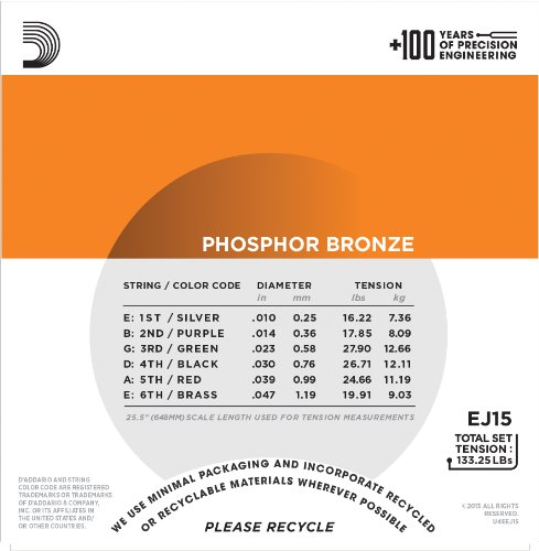 Large Product Image of D'Addario EJ15 Phosphor Bronze Acoustic Guitar Strings, Extra Light, 10-47