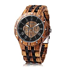 BEWELL W116C Thanksgiving Gifts Mens Wooden Quartz Watch with Luminous Pointer Date Display Roman Numerals Scale Wristwatch (Ebony/Zebra wood)