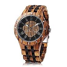 BEWELL W116C Male Wooden Quartz Watch with Luminous Pointer Date Display Roman Numerals Scale Wristwatch (Ebony/Zebra wood)