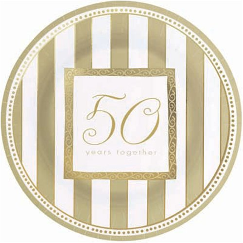 8 Paper Plates 26.6cm - Golden Anniversary Wishes Amscan 599099AMS-50ann