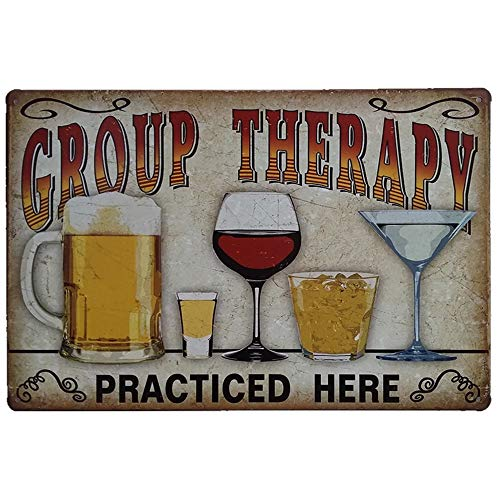 EffortLife Group Therapy Practiced Here Retro Vintage Metal Tin Sign Wall Plaque Poster Cafe Bar Pub Beer Club Wall Home Decor 12 X 8 inch