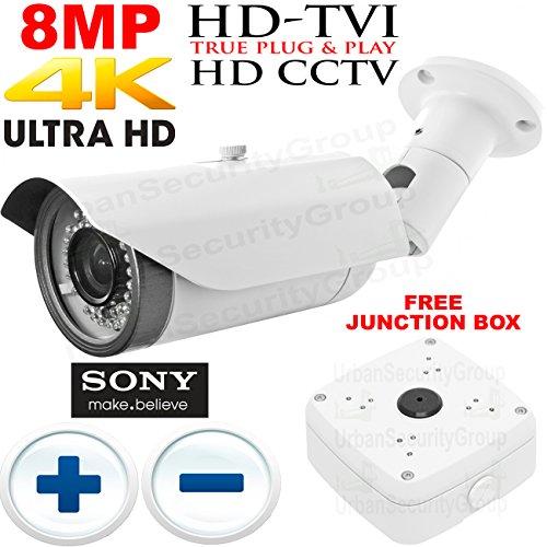 USG Business Grade 8MP @ 30FPS Ultra 4K UHD Sony IMX274 Chipset Ultra High Definition CCTV Bullet Security Camera: 3840x2160 Resolution, 8MP 3.6-11mm Manual Vari-Focal Lens, IR (4mm Manual Lens)