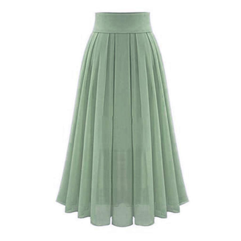 Mumustar 01 Falda Larga de Gasa Plisada para Mujer Verde Verde 48 ...