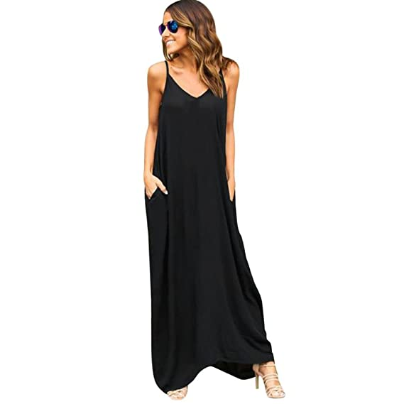 82a51e0319865 BAO8 ドレス 無地ワンピース ロング丈ドレス 袖なし 丸首ワンピース ポケット付き セクシー 女性ワンピース