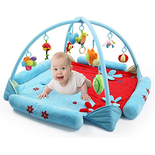 (LaChaDa Baby Activity Gym Mat Music Playmat with Mirror Rattle Fun Colorful Development Educational Play Mat Gift for Baby Infants, Blue)