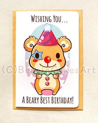Amazon Com Happy Birthday Bear Note Card Beary Birthday Card