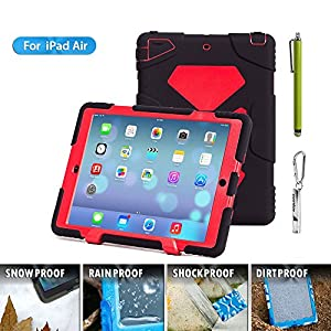 iPad Air Case,Aceguarder® Design [Waterproof][Shockproof][Scratchproof][Drop resistance]*Limited edition*Super Protection Cover Case iPad Air(2015)(iPad Air, black/red) from ACEGUARDER