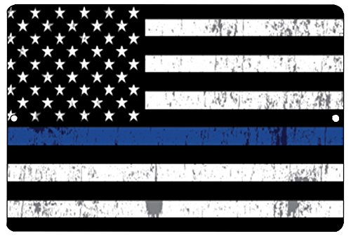 Blue Lives Matter Flag Metal Tin Sign Wall Decor Man Cave Bar Police Officer Thin Blue Line Gift