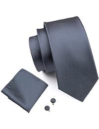 Hi-Tie Classic Plian Tie Set Formal Silk Neckties for Men Solid Color