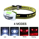 LED Headlamp, Ideapro 4 Modes Super Bright Adjustable Waterproof Lightweight Headlight Flashlight for Running, Mountain Climbing, Camping, Reading, Hiking, Biking
