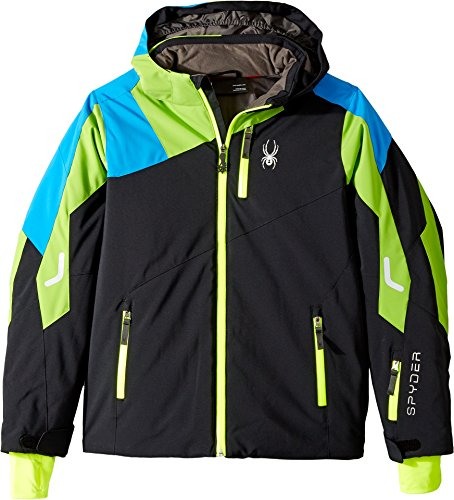 Spyder Kids Boy's Avenger Jacket (Big Kids) Black/Fresh/Fresh Blue 12 by Spyder