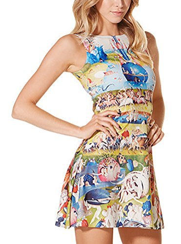 and Sleeveless Skater Stretchy Fit Women's Flare Dress Pleated QZUnique Printed Paradise Cartoon nazx0TIwC