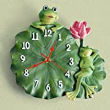 frog Lotus leaf Resin Artificial painting wall clock Quartz clock decoration Wall clock bedroom Mute Pocket watch Crafts