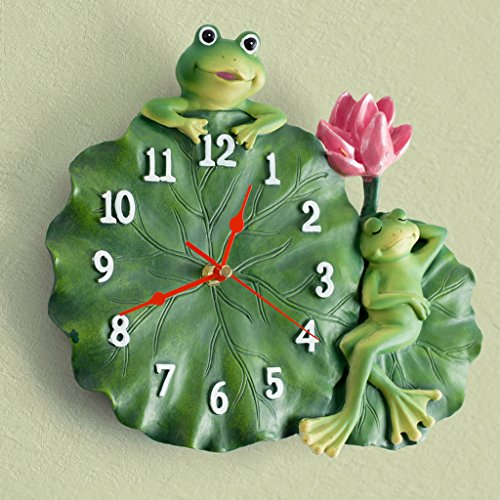 frog Lotus leaf Resin Artificial painting wall clock Quartz clock decoration Wall clock bedroom Mute Pocket watch Crafts