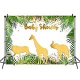 Mehofoto Safari Baby Shower Backdrop Gold Animals Step and Repeat Vinyl Background 7x5 Jungle Animal Photo Booth Backdrop for Cake Table Decorations