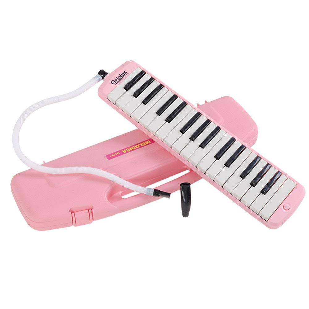 Melodica Musical Instrument 32 Keys Piano Keyboard Style Melodica With Portable Carrying Case Kids Musical Instrument Gift Toys For Music Lovers Beginners Mouthpieces Tube Sets Blue Pink for Music Lov by Shirleyle-MU (Image #3)