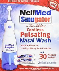 NeilMed Sinugator Cordless Pulsating Nasal Wash, 30 Count