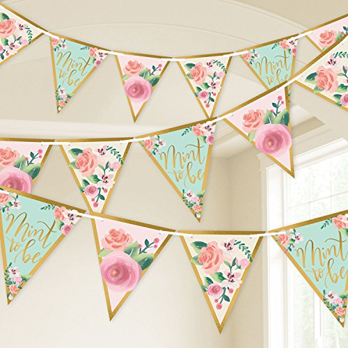 Amscan Mint To Be Wedding Pennant Banner