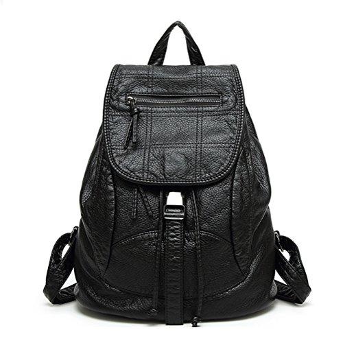 2018春と夏の新しい洗濯レザーバックパック韓国のレトロバッグ学生バッグ