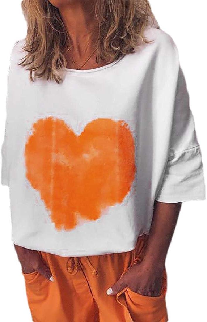 Rrive Women Heart Print Basic Crewneck Half Sleeve T-Shirts Top Blouse