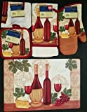The Pecan Man Wine & Cheese Theme Everyday Decor Kitchen Set of 7, 1 OVEN MITT & 2 Pot Holders & 2 Dish Cloths & 1 Kitchen Towel & 1 Placemat