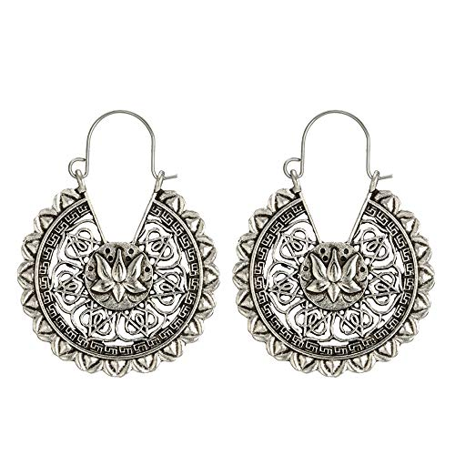 LODDD Women Boho Lotus Earrings Jewelry Ethnic Drop Earrings Enamel Vintage Classic Openwork Pattern Totem Earrings