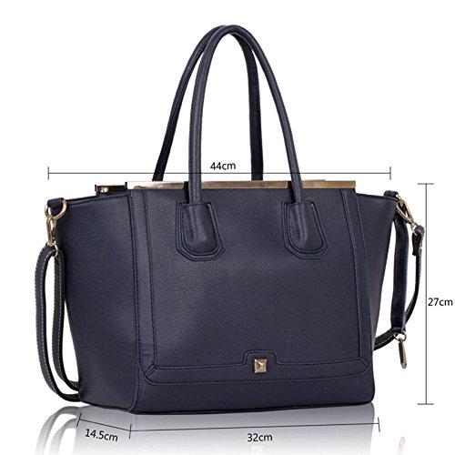 TrendStar Frauen hochwertige Kunstleder Designer-Einkaufstasche Szene mit langen Riemen. Marine g6J9ytl