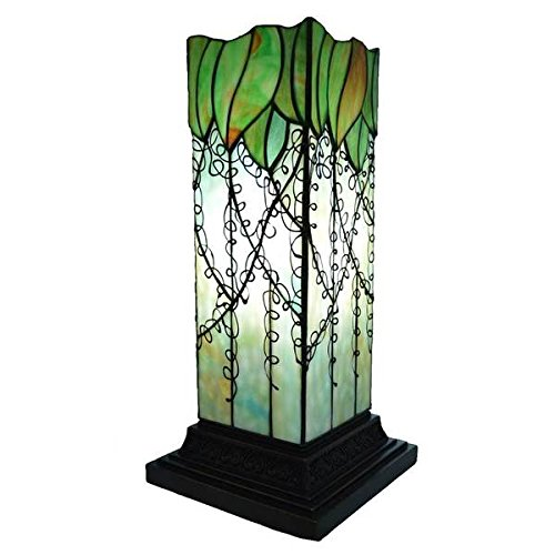 River Of Goods Multicolored Stained Glass and Resin Filigree Hurricane Lamp