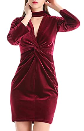 710f34ea707d2 Image Unavailable. Image not available for. Color: FLCH+YIGE Women's  Chocker V-Neck Velvet Elegant Long Sleeve Bodycon Dress Wine Red