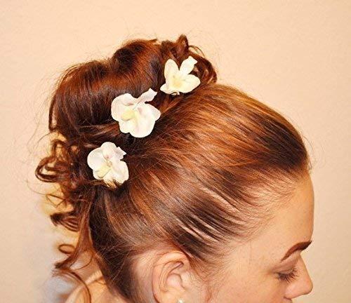 3 Haarschmuck Haarnadeln kleine Dirndl Orchideen Braut Oktoberfest Blumen
