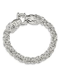 ICE CARATS 925 Sterling Silver Link Lion Head 7.25 Inch Bracelet 7.5 Fancy Fine Jewelry Gift Set For Women Heart