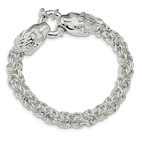 Jewelry Bracelets Link Bracelets Sterling Silver Polished Fancy Link Lion Head 7.25 inch Bracelet