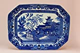 Blue and White Willow Serving Platter Burleigh Ware Burgess & Leigh Vintage English 1930s Octagonal Dish