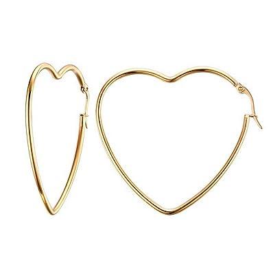 a9d5904628996 Mengpa Titanium Steel Women's Hoop Earrings In Gold Silver